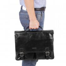 Портфель з натуральної шкіри de esse LC45778X-3 Чорний