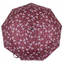 Зонт складной de esse 3223 полуавтомат Бордовый с сердцами