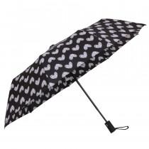 Зонт складной de esse 3223 полуавтомат Черный с сердцами
